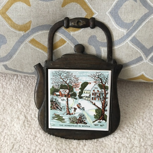 Vintage Cast Iron Tea Kettle Decor